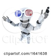 3d Funny Cartoon Robot Mechanical Man Wearing 3d Glasses