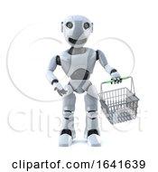 3d Robot Shopper With Basket
