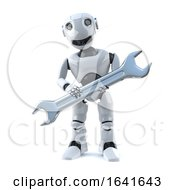 3d Robot Does Repairs With A Spanner