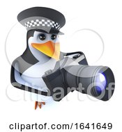 3d Funny Cartoon Police Penguin Character Holding A Camera