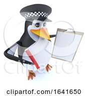3d Funny Cartoon Police Penguin Character Holding A Clipboard And Pencil