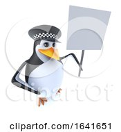 3d Funny Cartoon Police Penguin Character Holding A Blank Placard by Steve Young