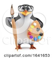 3d Academic Penguin Loves To Paint by Steve Young