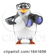 3d Funny Nerd Penguin Character With Binoculars by Steve Young