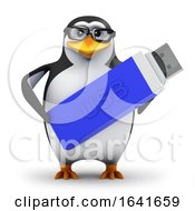 3d Penguin Holding A USB Drive by Steve Young