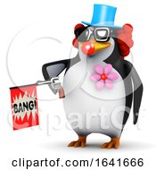3d Penguin Clown With Joke Gun by Steve Young