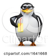 3d Penguin With A Glass Of Juice by Steve Young