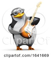 3d Penguin With A Guitar