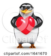 3d Penguin With A Heart by Steve Young