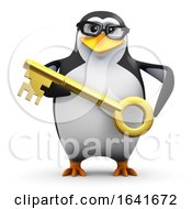 3d Penguin Has The Gold Key Of Success by Steve Young