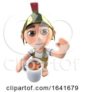 Poster, Art Print Of 3d Funny Cartoon Roman Soldier Centurion Drinking A Cup Of Coffee Or Tea