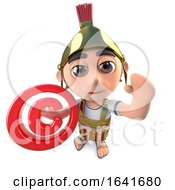3d Funny Cartoon Roman Soldier Centurion Character Holding A Copyright Symbol
