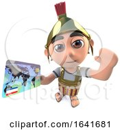 3d Funny Cartoon Roman Soldier Centurion Character Holding A Debit Or Credit Card