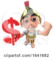 3d Funny Cartoon Roman Soldier Centurion Character Holding A US Dollar Currency Symbol