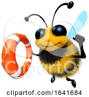 3d Funny Cartoon Honey Bee Character Holding A Lifering by Steve Young