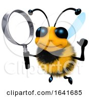 3d Funny Cartoon Honey Bee Character Holding A Magnifying Glass by Steve Young