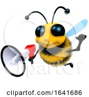 3d Funny Cartoon Honey Bee Character Using A Megaphone by Steve Young