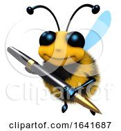 3d Funny Cartoon Honey Bee Character Writing With A Pen by Steve Young