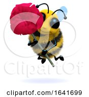 Poster, Art Print Of 3d Bee Holds A Red Rose