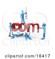 Team Of Blue People Constructing The Word Com Symbolizing A Website Under Construction Clipart Illustration Graphic