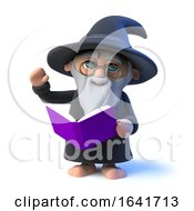 3d Funny Cartoon Wizard Character Reads From His Book Magic Spells by Steve Young