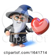 Poster, Art Print Of 3d Funny Cartoon Wizard Magician Pointing A Wand At A Romantic Red Heart