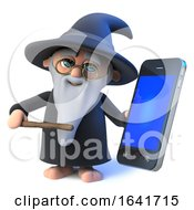 3d Funny Cartoon Wizard Magician Character With Smartphone by Steve Young