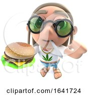 Poster, Art Print Of 3d Funny Cartoon Hippy Stoner Character Eating A Cheese Burger