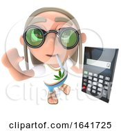 3d Funny Cartoon Hippy Stoner Character Holding A Calculator