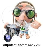 Poster, Art Print Of 3d Funny Cartoon Hippy Stoner Character Holding A Camera