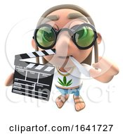 Poster, Art Print Of 3d Funny Cartoon Hippy Stoner Character Holding A Movie Makers Chalk Slate Clapperboad
