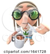 Poster, Art Print Of 3d Funny Cartoon Hippy Stoner Character Drinking A Cup Of Coffee