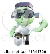 3d Funny Cartoon Frankenstein Monster Character Drinking Coffee From A Mug