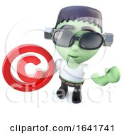 3d Funny Cartoon Frankenstein Monster Character Holding A Copyright Symbol