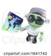 3d Funny Cartoon Frankenstein Monster Character Holding A Debit Card