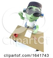 3d Funny Cartoon Halloween Frankenstein Monster Waving From Behind A Desk