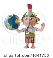 3d Roman Centurion Holds A Globe Of The Earth
