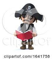 3d Pirate Captain Is Reading A Book