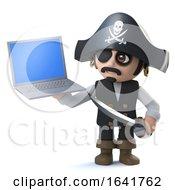 3d Pirate Captain Has A New Laptop Pc Device