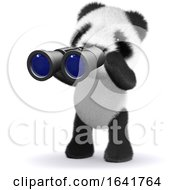 3d Baby Panda Bear Looking Through Binoculars by Steve Young