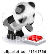 Poster, Art Print Of 3d Panda Bear Presses Red Button