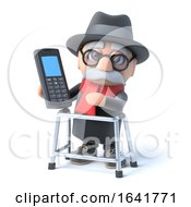 3d Grandpa Chats On His Cellphone