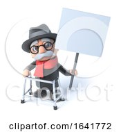 3d Grandpa Holds Up A Blank Placard