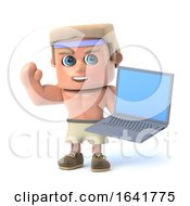 Funny 3d Muscle Man Character With Laptop Computer