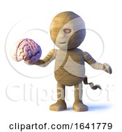 3d Scary Cartoon Halloween Mummy Monster Holding A Human Brain by Steve Young