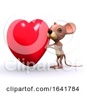 Poster, Art Print Of 3d Cute Mouse Character With A Big Red Romantic Heart