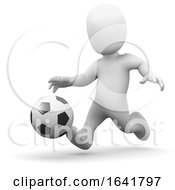 3d Little Man Kicking A Football