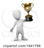3d Little Man Holds Up A Gold Cup