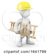 3d Man In Hard Hat Carrying Ladder