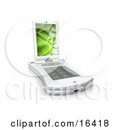White Pda Computer With A Small Keyboard And A Green Screen Saver
